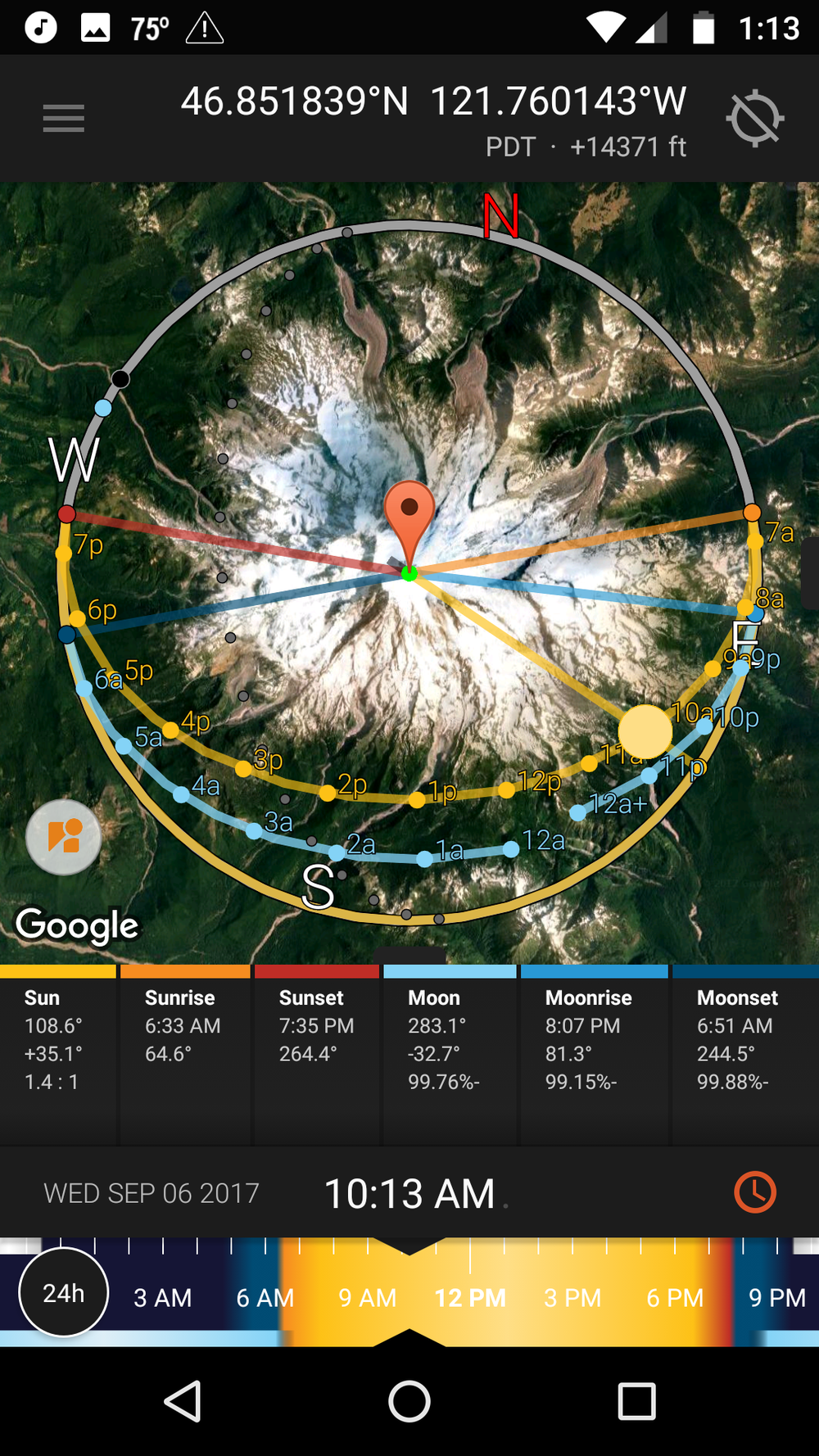 Map view  shows how the sun and moon interact with the the overall landscape around your location. For instance, you can see which face of a mountain will receive light at a certain time.