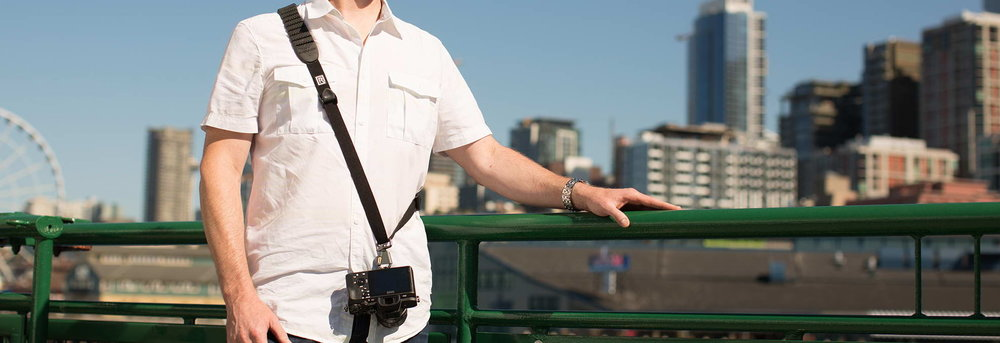 You wear the  Black Rapid  strap across your body, and the camera slides along the strap so you can bring it up to your face easily.