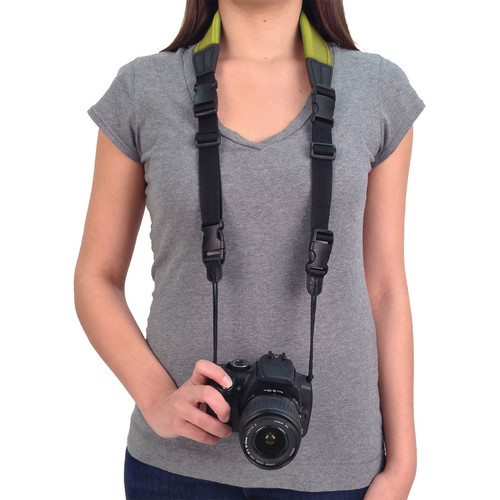 The classic camera strap, simple but not necessarily easy.  A camera never feels heavier than when it's hanging from your neck all day.