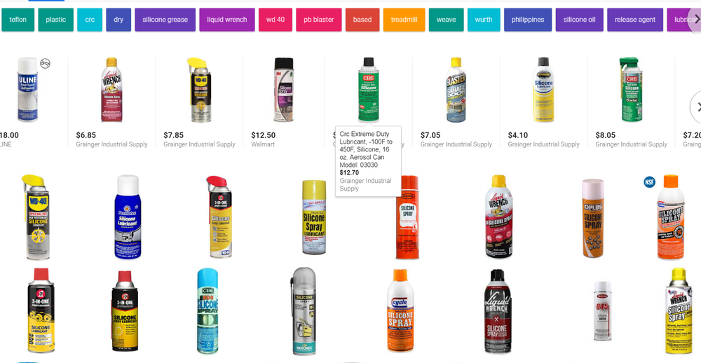 "... Or you could just Google ""silicone spray"" and be treated to this festival of colors."