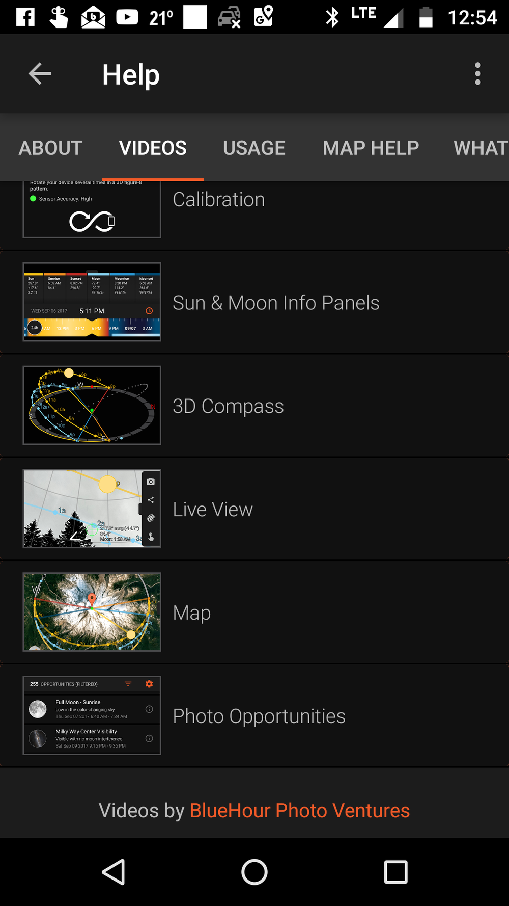 Our tutorial videos integrated into the Sun Surveyor app.