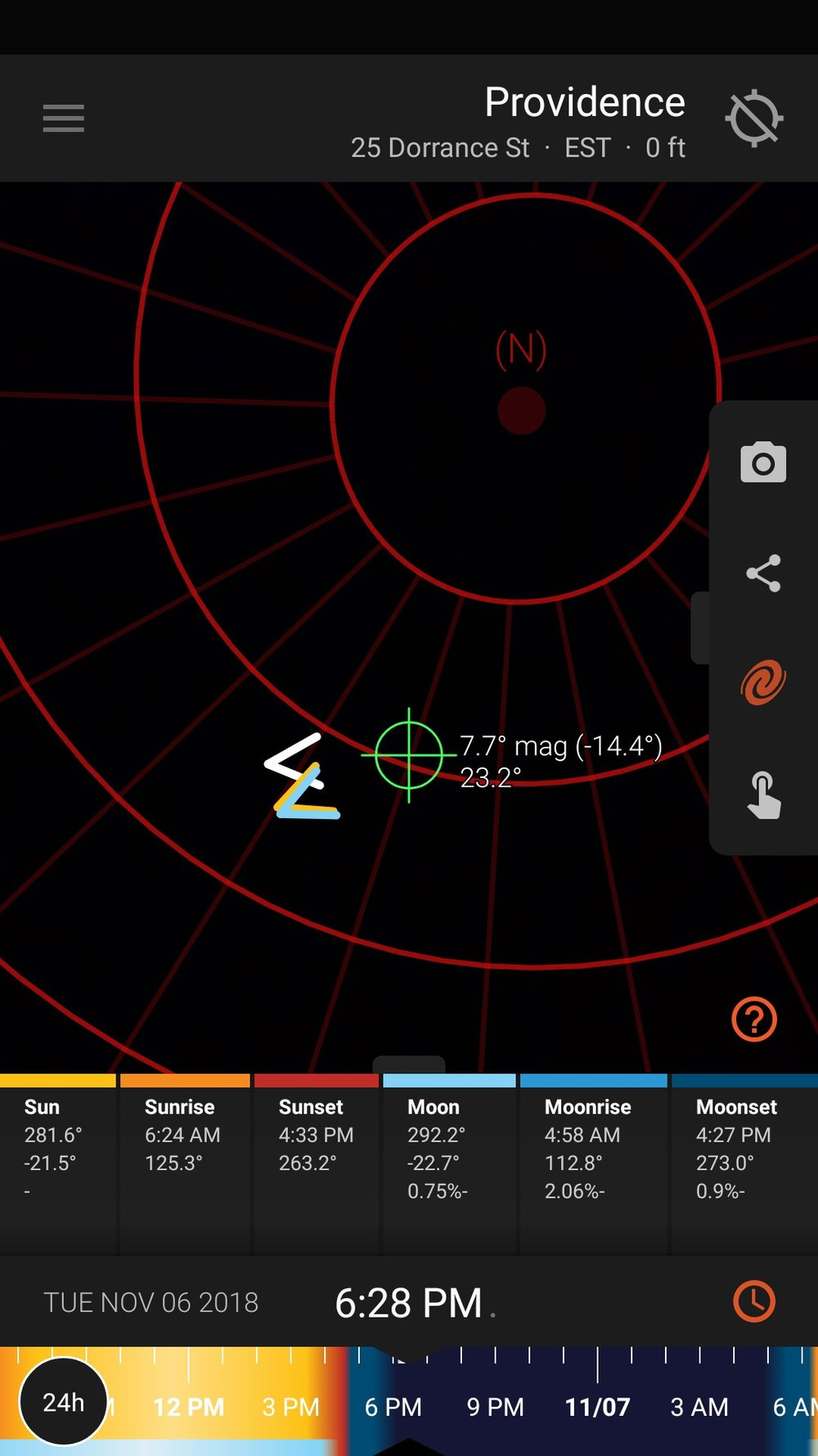 Our favorite app for planning any landscape photo shoot, even star trails, is  Sun Surveyor . It is a great tool for forecasting moon phases and moon rise and set times, finding the position of the North Star, and predicting how your star trails will look.