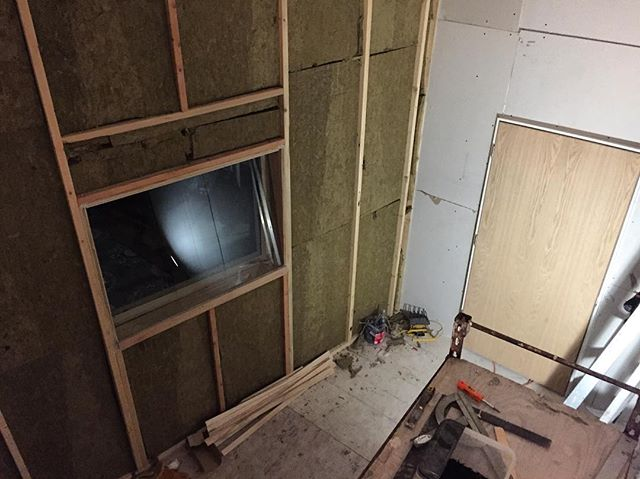 Long awaited Bricktop East update: Finished Drywalling, put in a door and window for the isolation room/vocal booth.  Acoustical treatments just begun! Wiring it up to the new control room next!