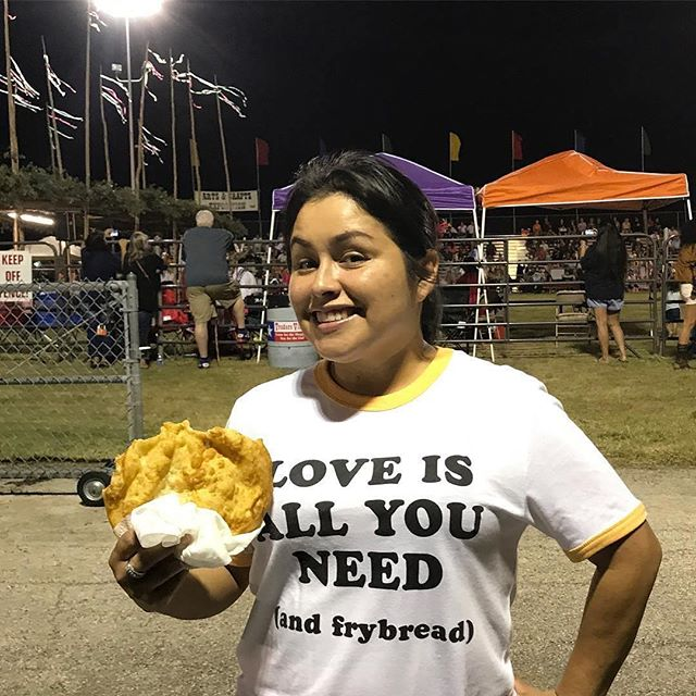 @hunee77 ・・・ Got my shirt just in time for the Pow Wow... and fry bread of course! I'm a happy girl!! (Excuse the hair it's windy) #frybread #powwow #teamntvs