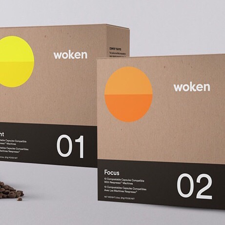 Proud to be a part of the @wokencoffee project! Worked with @marni.borek and so many talented others to launch it this week.  Get your coffee fix with Woken's 100% compostable capsules, compatible with Nespresso.  Enter your email at woken.coffee and get 15% OFF FOR LIFE. ☕️ #coffee #branding #packagedesign #design #espresso #nespresso #woken #wokencoffee
