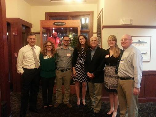 From left: Chris Louras, mayor of Rutland; Lyz Tomsuden, RYP Board; Steve Peters, RYP Board; Gwen Flewelling, RYP Board; Peter Welch; Allison Gillette, VP of RYP Board; and Tom Valente, RYP Board.