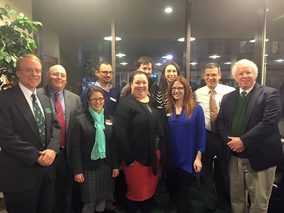 From left: Lyle Jepson, Dean of Entrepreneurial Programs; Tom Valente, RYP Board, Sara Gilbert, RYP Board; Steve Peters, RYP Board; Katye Munger, RYP Board President; Matt Bloomer, RYP Board; Gwen Flewelling, RYP Board Vice President; Lyz Tomsuden, RYP Board; Chris Louras, Mayor of Rutland; Dave Wolk, President of Castleton College.