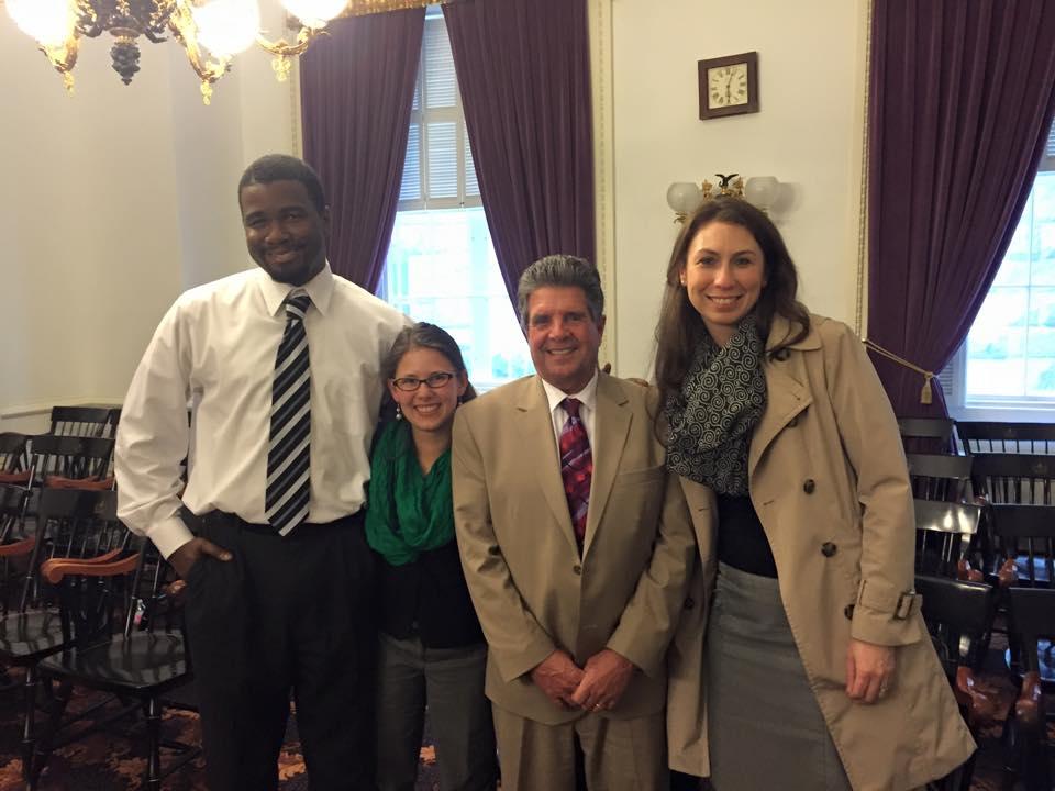 Rutland Young Professionals Kwame Dankwa, Sara Gilbert, Rutland Senator Brian Collamore and Gwen Flewelling at the Statehouse on April 21, 2015.