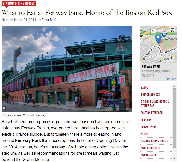 What to Eat at Fenway Park, Home of the Boston Red Sox Monday, March 31, 2014 byEater Staff