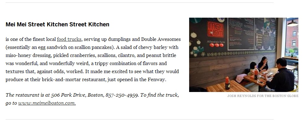 Boston Globe  From area restaurants, 13 dishes to be thankful for in 2013  By Devra First    NOVEMBER 26, 2013