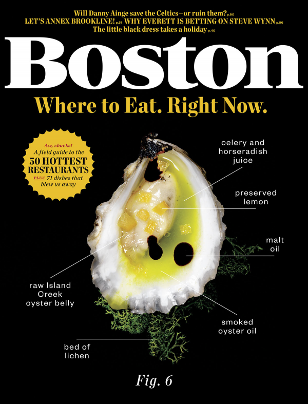 Where to Eat. Right Now.     A comprehensive, taxonomic, easy-reference field guide to dining out in Greater Boston, featuring: six full-color plates, 11 spruced-up street snacks, one headless annotated lamb, and 50 forward-leaning, rigorously vetted, utterly on-the-pulse restaurants worth a top spot on your feeding schedule.    Boston Magazine     |     November 2013