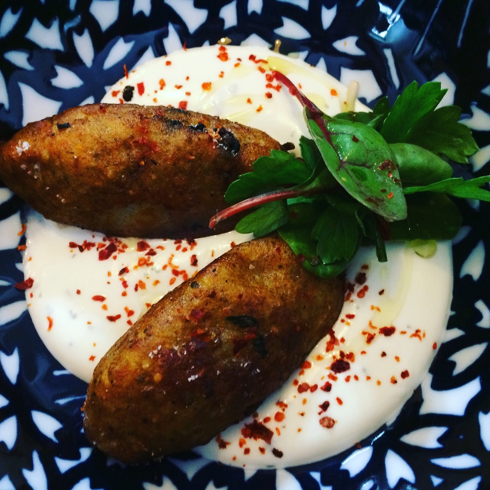 Potato Kibbeh with Spinach and Armenian String Cheese filling.