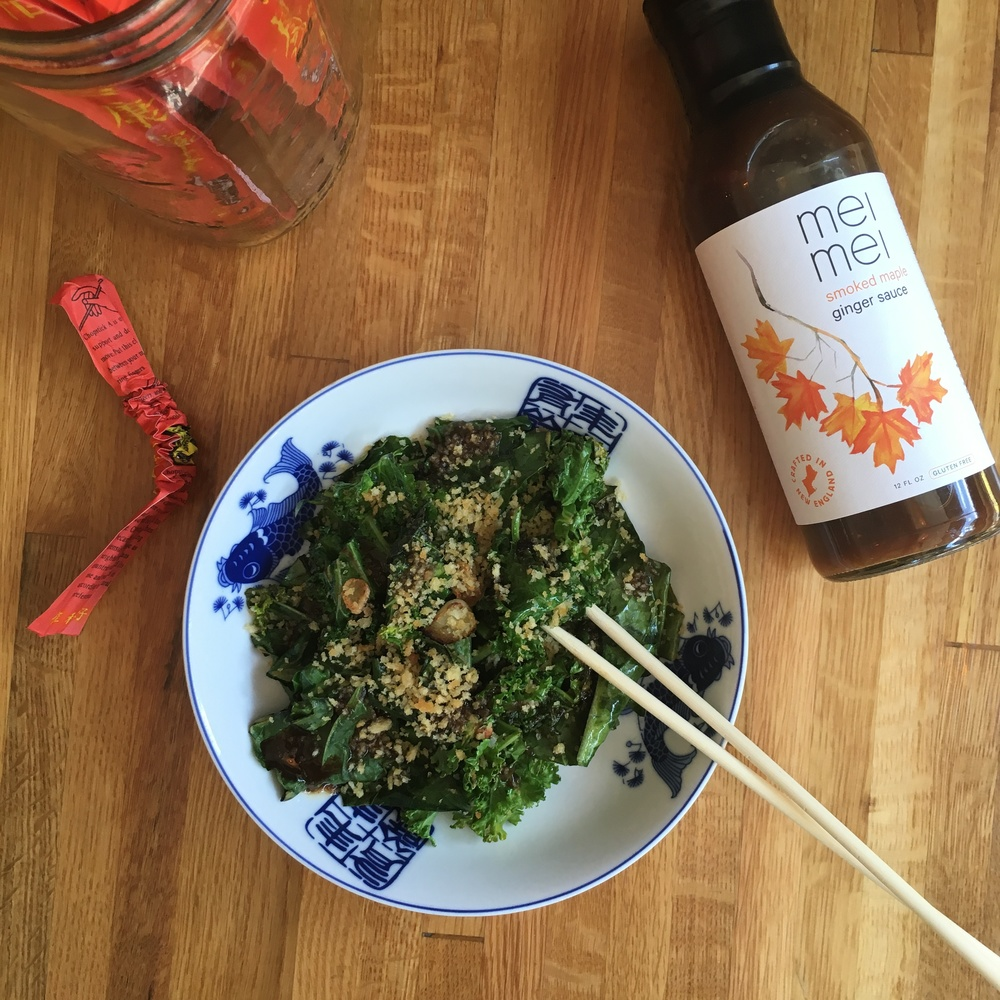 Stir Fried Local Greens with our Smoked Maple Ginger sauce!