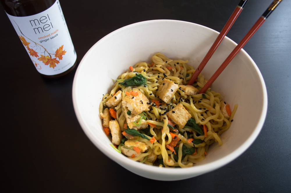 Smoked Maple Ginger Noodles with Tofu and Veggies