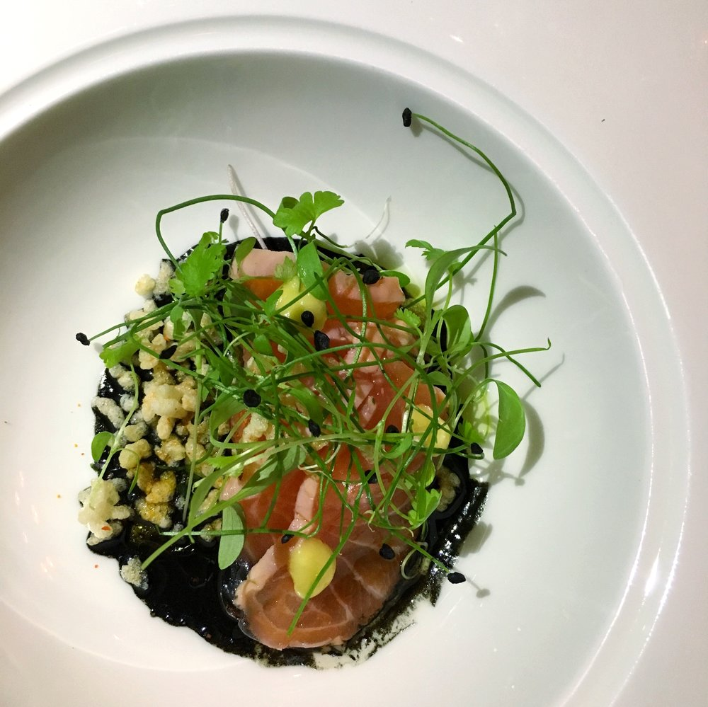 Shuai's excellent Salmon Tataki with Black Garlic Vinaigrette, Preserved Lemon and Puffed Rice