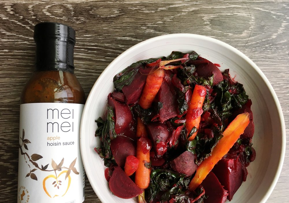 Apple Hoisin Glazed Beets and Carrots