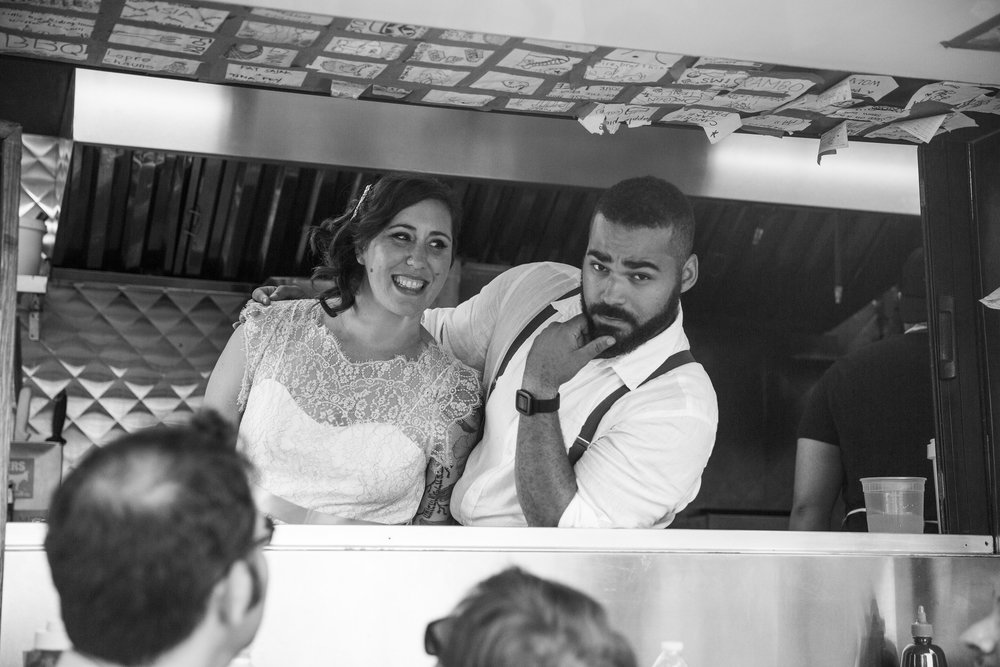bride and groom in the food truck boston