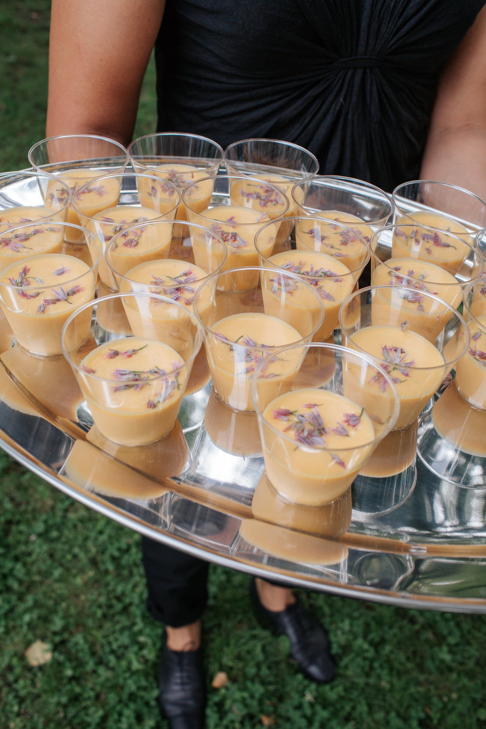 passed appetizer soup shots at boston food truck wedding catering