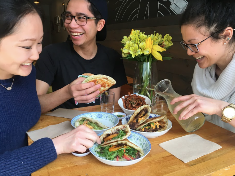 Liza Stone (right) with front of house staff Aaron Parayno (middle) and catering manager Olivia Dwan (left) enjoying lunch!