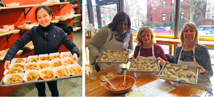 Catering Manager Olivia prepping for a big event, and Mei Mei fans showing off their successful dumpling class creations!