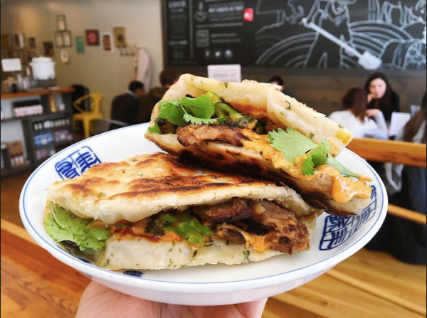 Mei Mei's Beef and Brocc scallion pancake sandwich!