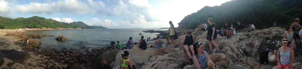 Group of SCAD students overlooking Lamma Beach
