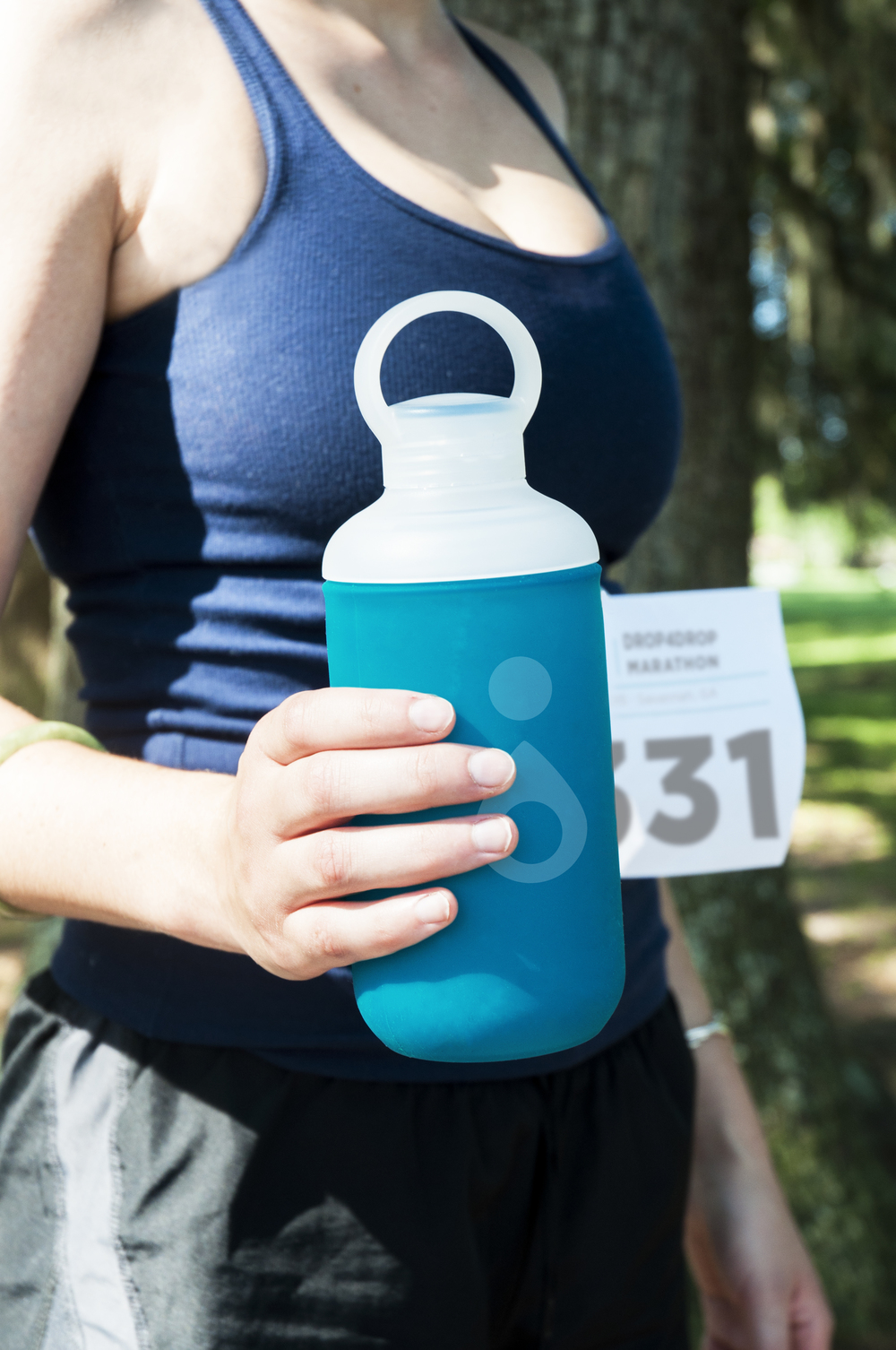 Participants receive reusable water bottles as apart of a their reward to finishing the race