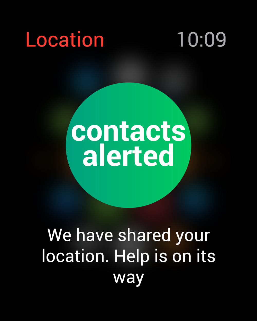 location sent to contacts selected