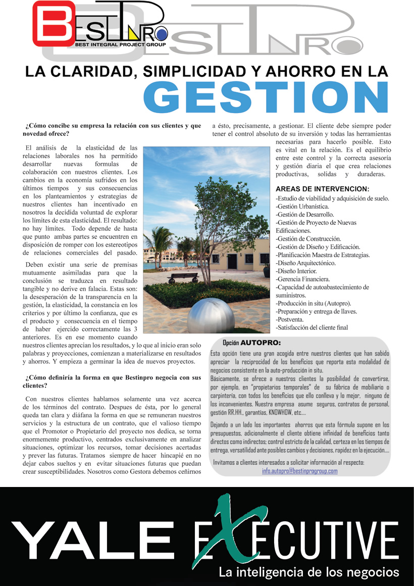 ale Executive / Introducción a BESTINPRO en revista YALE EXECUTIVE por Sergio Hdez. Genoves