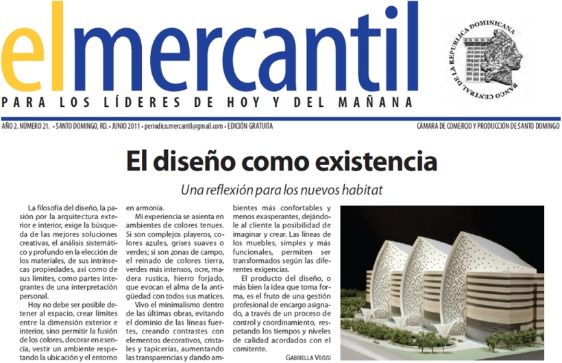 Junio 2011 – Elmercantil / Artículo de Gabriella Vaggi en la edición de revista EL MERCANTIL