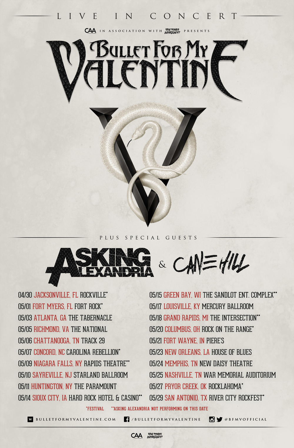 BULLET FOR MY VALENTINE TO RETURN TO U.S. IN MAY IN SUPPORT OF NEW ALBUM  U0027VENOMu0027 U2014 Plugged In Promotions