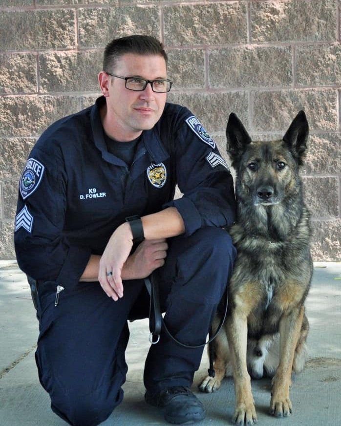 "2018 UPD K9 Team of the Year - Sgt. Fowler and his partner ""Animal"" were chosen as the Unified Police K9 Team of the year. Sgt. Fowler and Animal have been an incredible asset to public safety throughout Salt Lake County. Sgt. Fowler's leadership has inspired each UPD K9 handler and created a cohesive unit. Sgt. Fowler and his partner have also competed in local and national K9 trials with great success. Sgt. Fowler recently accepted a new assignment as Supervisor of the Metro Gang Unit. Animal was retired and will enjoy his time with the Fowler family."