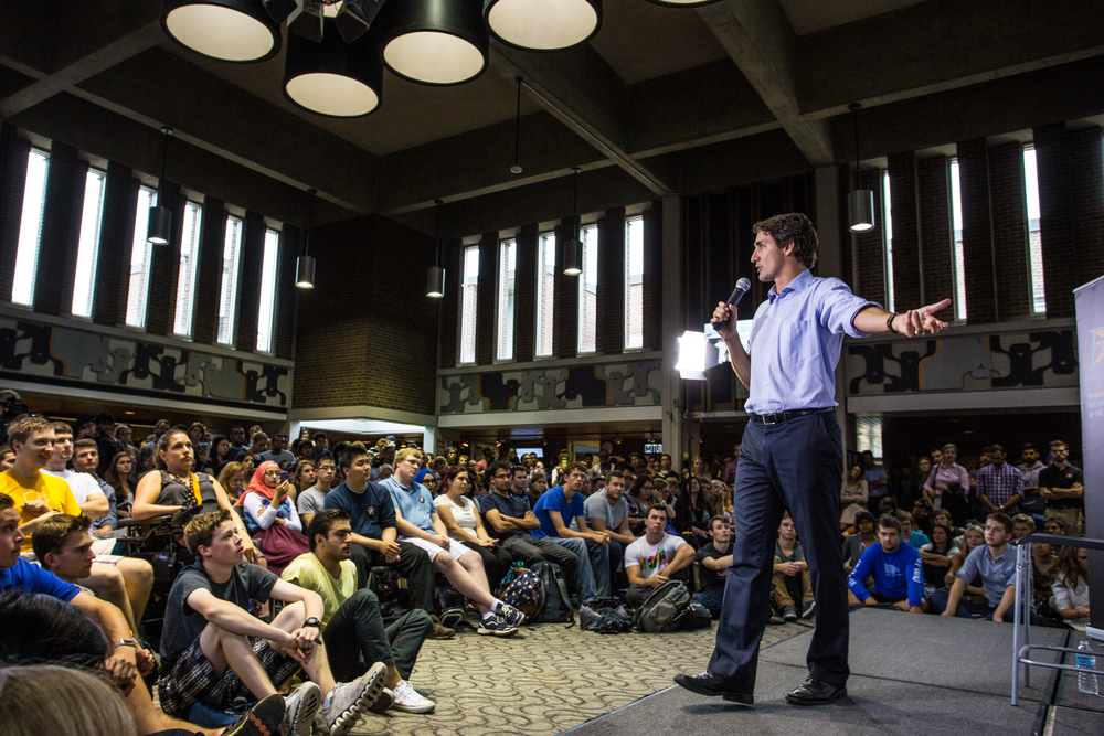 Justin Trudeau, then leader of the Liberal Party of Canada, speaks to students at the University of Waterloo.