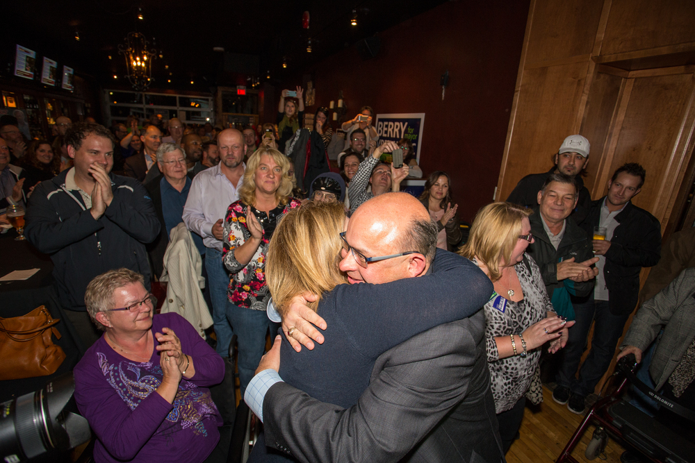 Berry Vrbanovic is embraced by supporters after becoming the Mayor Elect of the City of Kitchener.