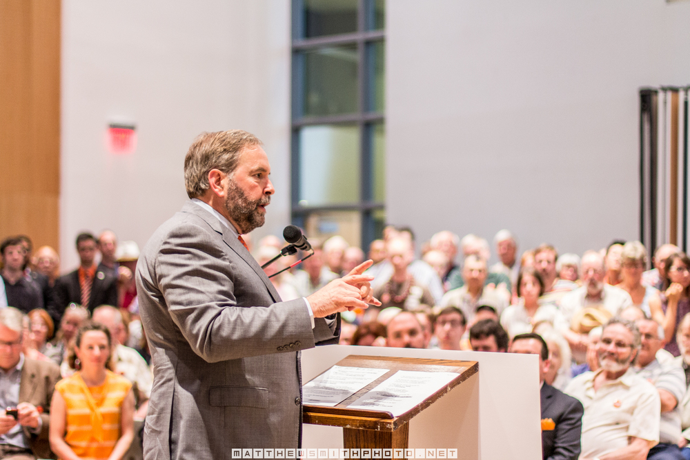 Federal NDP leader Tom Mulcair, speaks to supporters during a rally at Knox Presbyterian Church in Waterloo.