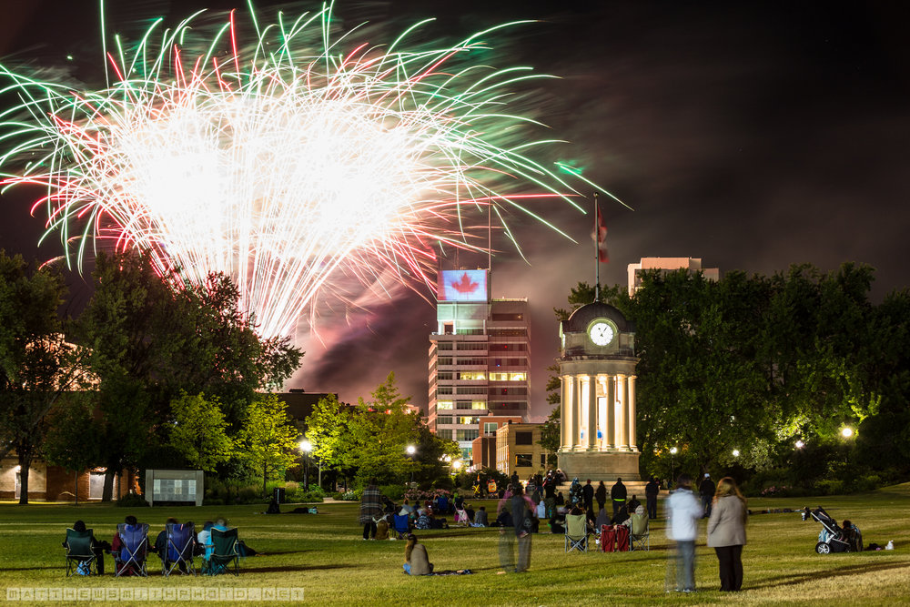 Fireworks explode over Downtown Kitchener and Victoria Park in celebration of Canada's 149th birthday.