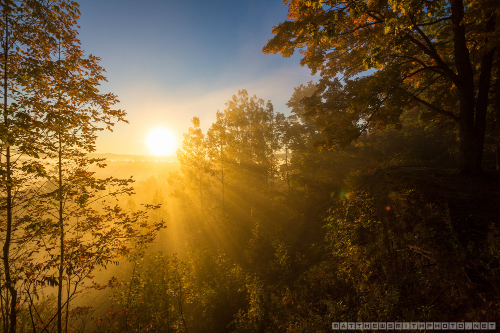 The rising sun pierces through the morning fog in Homer Watson Park on a fall day in Kitchener.