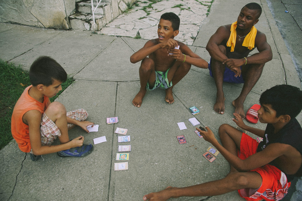 Those who didn't play football, played cards. I was lucky enough to observe this very serious card game.