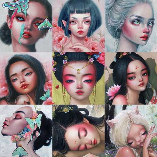 (Swipe to see more 👉) Which is your favorite: LIGHT or DARK? 🌒☀ . Taking a break from painting and coffee-brewing to partake in this fun #faceyourart tag! 💕🎨 I probably shouldn't have spent over an hour making these collages, but man I just couldn't decide which pieces to include... so that's why I ended up with two collages, oops 😆 (and yes I sprinkled some sneak peeks of unreleased paintings in there 😉) . It's actually really cool to view all my dark pieces and light pieces as separate collections... In a way, they kind of captured the two different moods I always find myself fluctuating between (Jk, I only have one mood... And that mood is TIRED lol 😴) . Ok back to work now! 💪 Lots of new pieces and new content to share with you guys this month, can't wait! And also if you're in the LA area, I'd love to meet you on May 18th at 7pm for my mini solo show opening night! 😘❤ . . . . . #oilpainting #fairy #unicorn #mermaid #surreal #surrealism #popsurrealism #painting #contemporaryart #fantasy #portrait #pastel #acrylic #coloredpencil #drawing #sketchbook #sketch #pencil #watercolor #realism #semirealism #markers #illustration