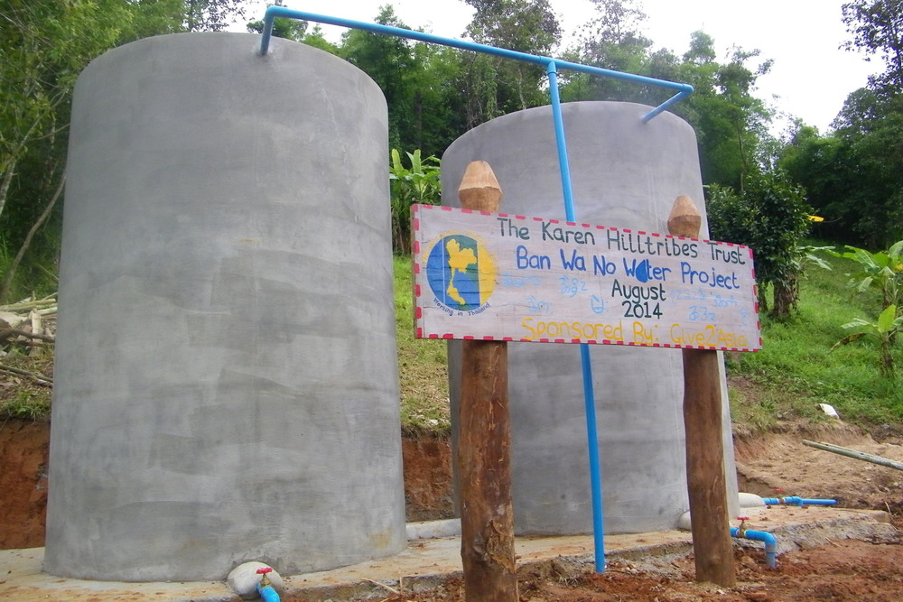 The finished tanks for The Karen Hilltribes Trust, Ban Wa No Water Project, Sponsored by Give2Asia, August 2014