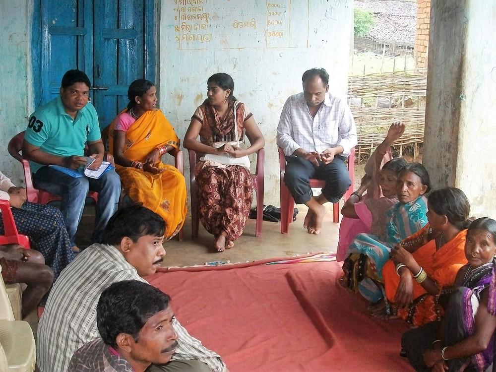 Saveetha attending a Panchayat meeting