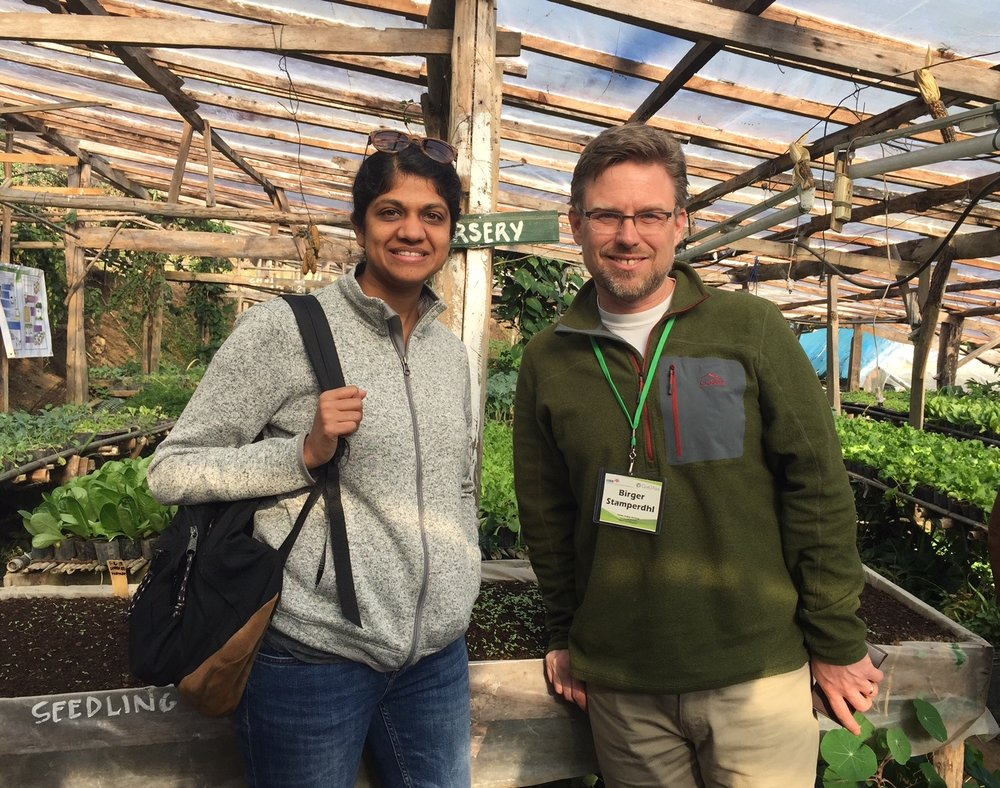 CEO Birger Stamperdahl and Disaster Programs Development Manager Sheena Agarwal, on a site visit to one of Shontoug Foundation's farms in Baguio. (Feb 2018)