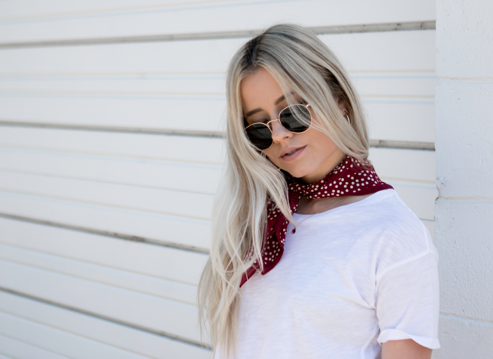 Denim c/o  AG Jeans   Tee & Scarf via  Madewell   Slides via Zara
