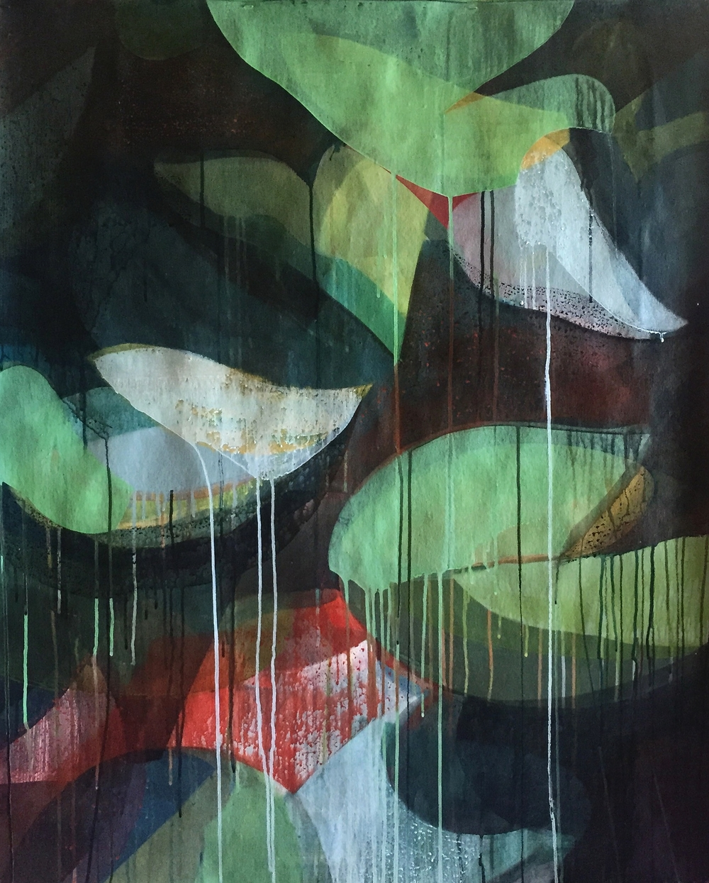 "spatterdock, 36"" x 26, water-based media on felt paper, 2015"