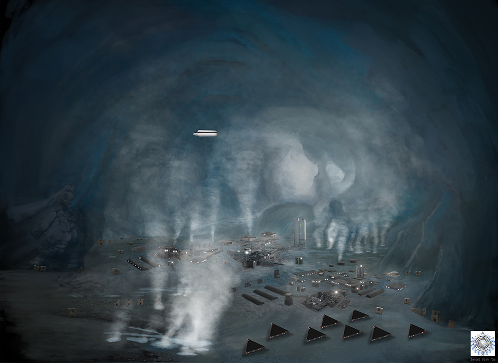 Underground Nazi/Reptilian base underneath Antarctica.  Image from SphereBeingAlliance.com
