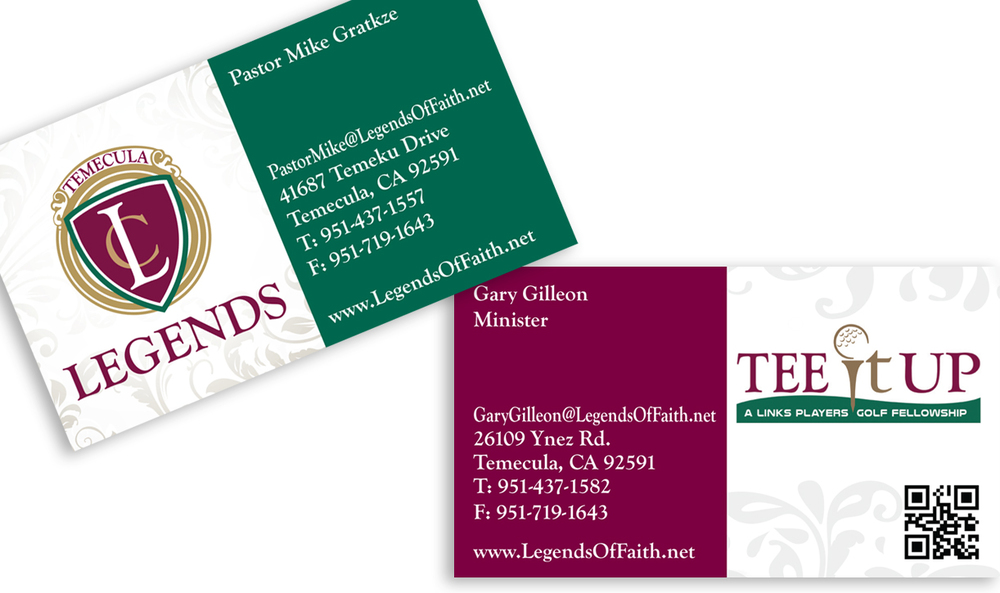 Business cards for partnered ministries.