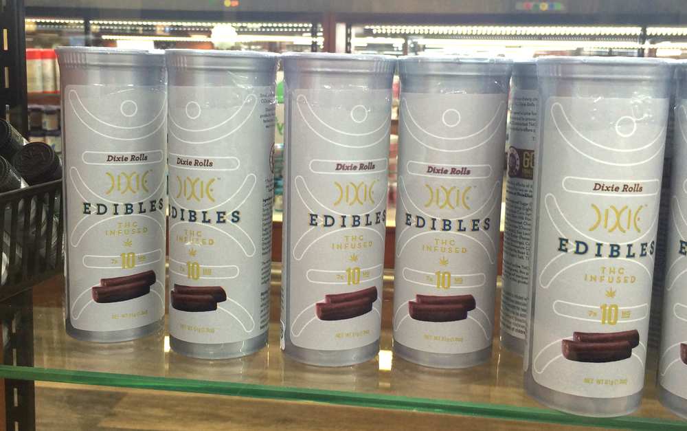 Edibles packaging example, plastic tube with label.