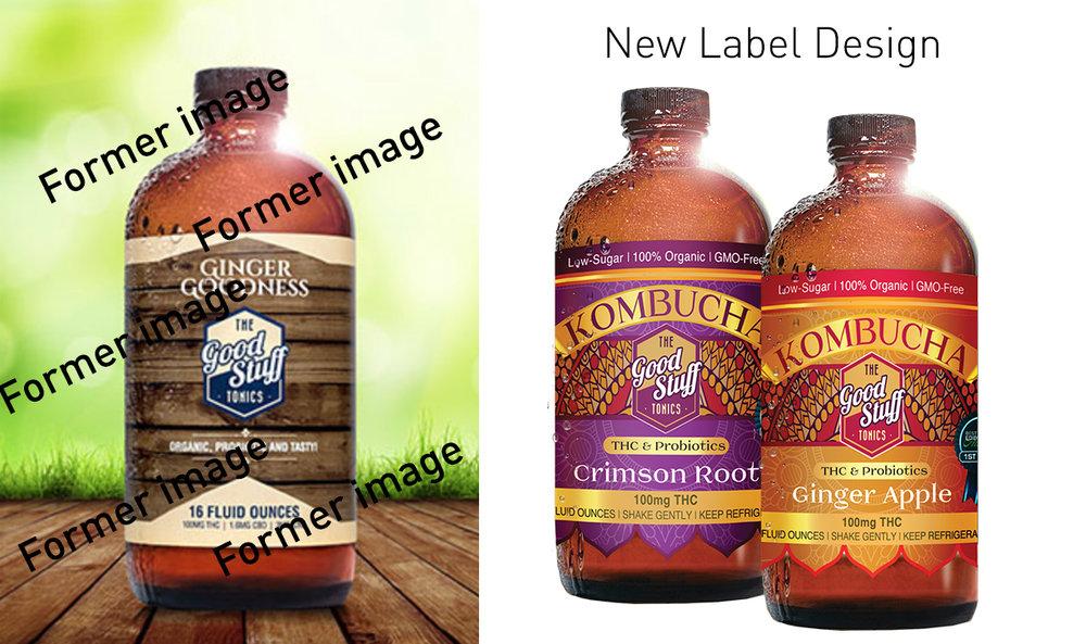 Former bottle design and rebranded bottle designs.