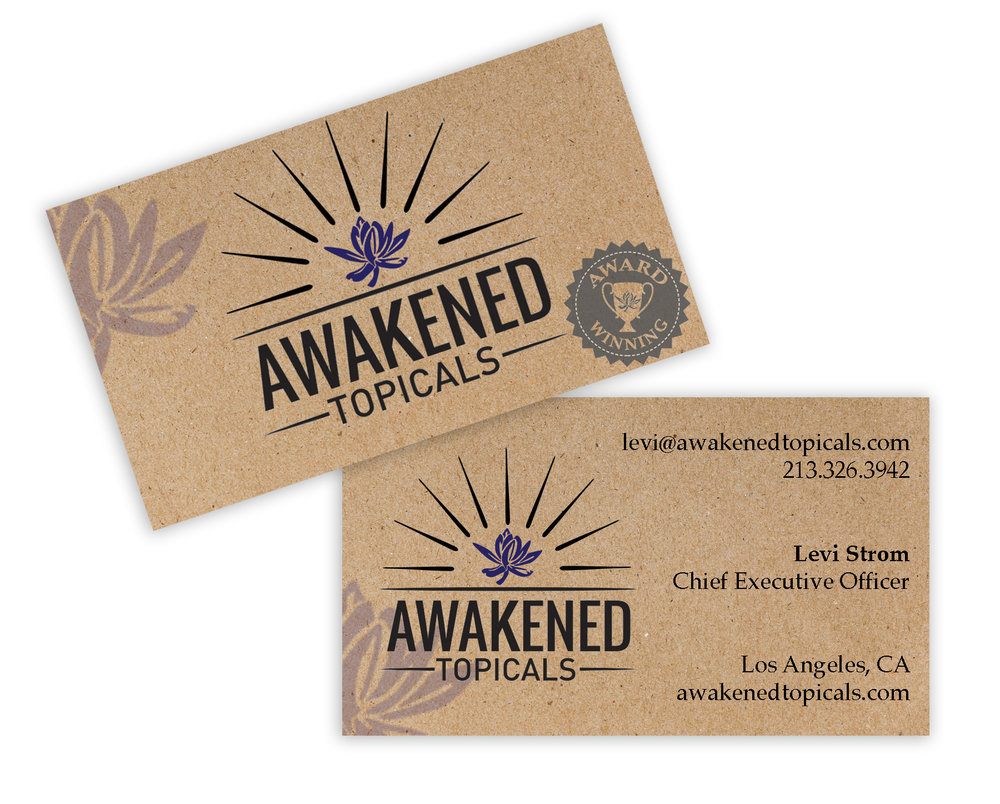Two sided business card featuring two color version of the logo.