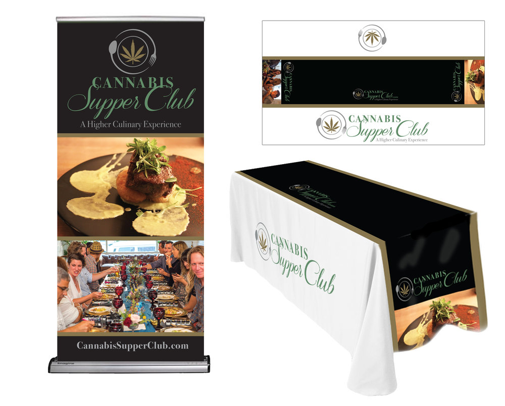 Trade Show Needs: Retractable banner and tablecloth.